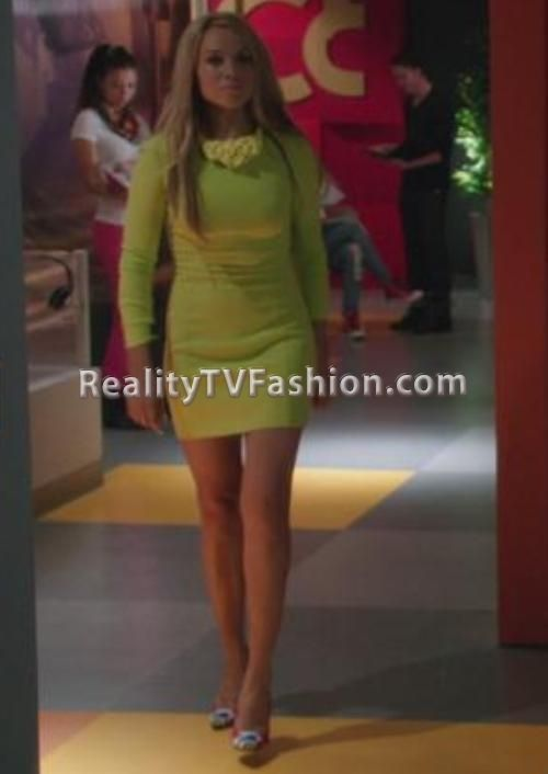 "Charity Shea's Lime Green Long Sleeve Dress & Rope Bib Necklace on ""Single Ladies"""