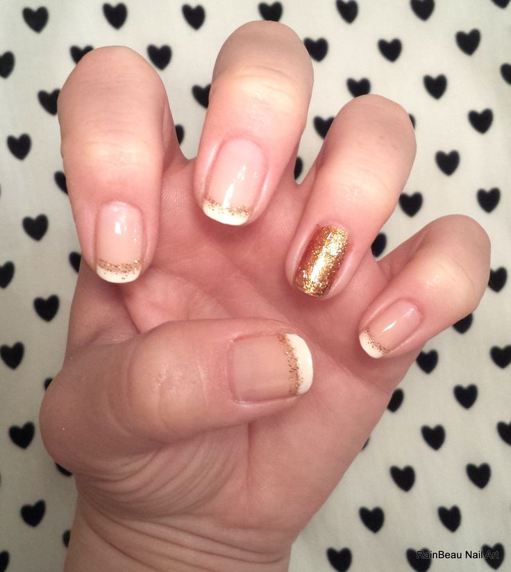 French mani with gold accent nail, by Rain
