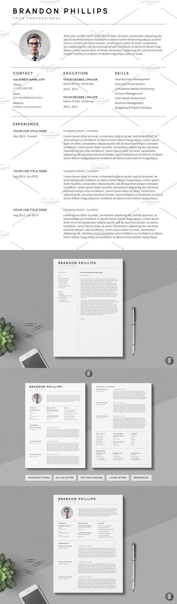 Resume/CV The Brandon Simple resume template