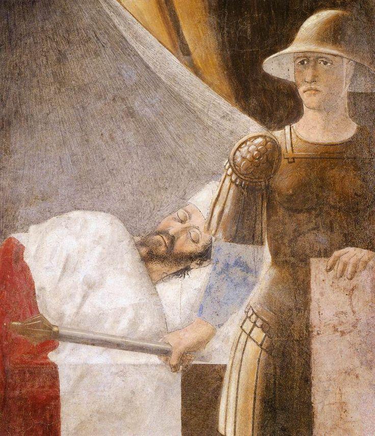 ❤ - PIERO DELLA FRANCESCA - (1415 - 1492) -  Vision of Constantine (detail). Fresco.  Basilica di San Francesco, Arezzo,Italy.