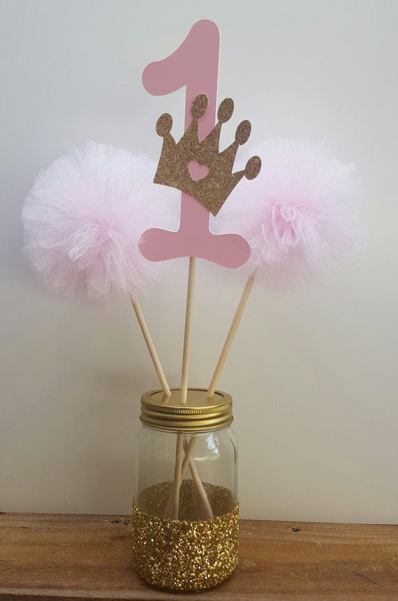 Gold and pink princess centerpiece by Cre8iveDesignss on Etsy