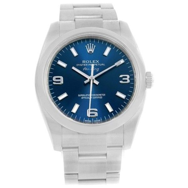 Pre-owned Rolex Air King 114200 Stainless Steel & Blue Dial 34mm... found on Polyvore featuring jewelry, watches, stainless steel watches, rolex watches, bezel jewelry, pre owned watches and dial watches