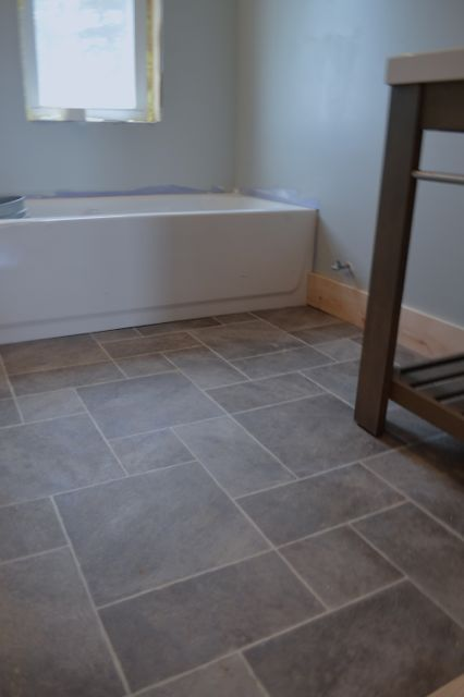 Barn bathroom laminate floor2 - the stone gate sheet vinyl flooring in  cornerstone gray. It