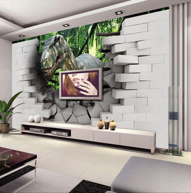 3d dinosaur wallpaper custom photo wallpaper children 39 s for Decor mural xxl 4 murs