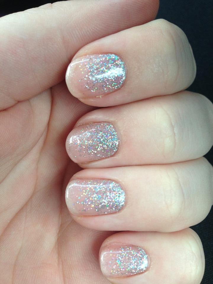 Bridal nails - glitter fade CND Shellac  - Amethyst Beauty Room