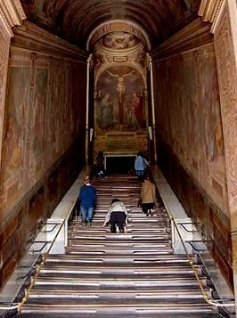 The Scala Santa located in Rome, Italy in the Basilica of St. John Lateran. The Holy Staircase consists of 28 marble steps, held by tradition to be the stairs Christ ascended on Good Friday, on His way to His trial before Pontius Pilate. They were the steps leading to Pilate's judgment hall, where Jesus was sentenced to death. The mother of Emperor Constantine, St. Helena, ordered that they be brought from Jerusalem to Rome in the year 326.