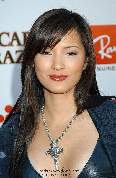 Kelly Hu with subtle chocolate brown highlights in her nearly black Asian hair. Her thin slices bring out her eyes because they are virtually the same color. Very neat toned-down haircolor style.
