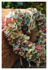 All Seasons: Heart wreath made of Hydrangeas and Annabel.