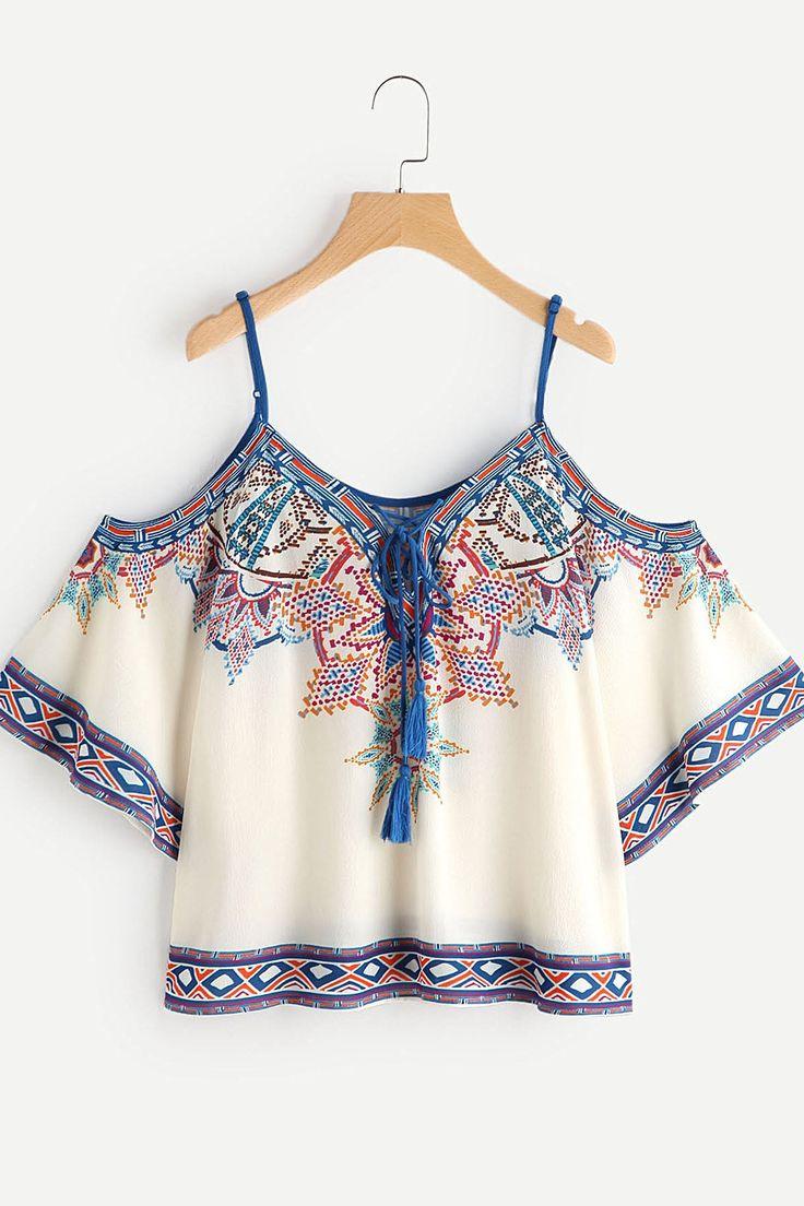 Open Shoulder Aztec Print Lace Up Top