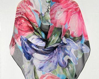 AZALEA BOUQUET Wrap seta dipinta a mano originale floreale fiori meridionale botanica rosa viola MOTB sposa sirena di seta SilkSiren.com Lynn mansueti