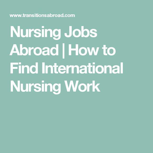 Nursing Jobs Abroad | How to Find International Nursing Work