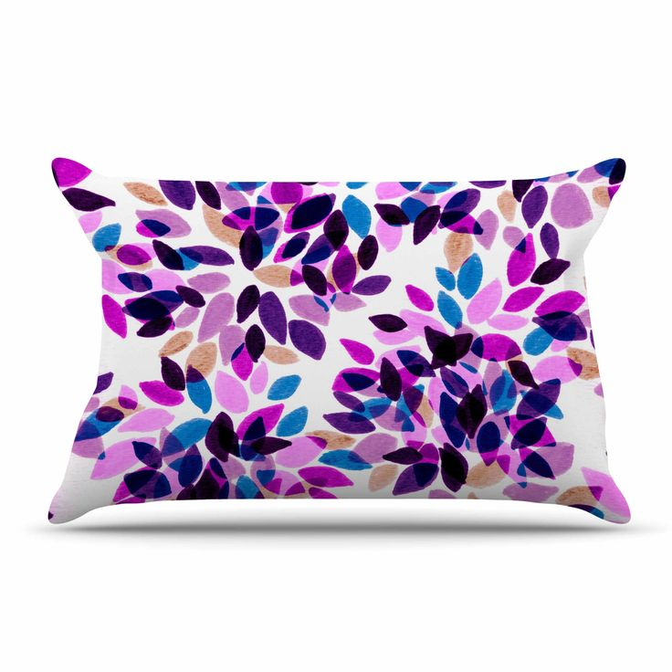 "Ebi Emporium ""Dahlia Dots 3"" Pink Purple Pillow Case from KESS InHouse"