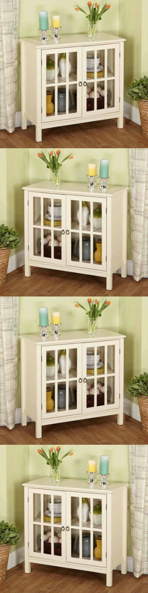 Sideboards and Buffets 183322: Antique White Buffet Cabinet Sideboard China Storage Display Glass Doors Table -> BUY IT NOW ONLY: $139.99 on eBay!