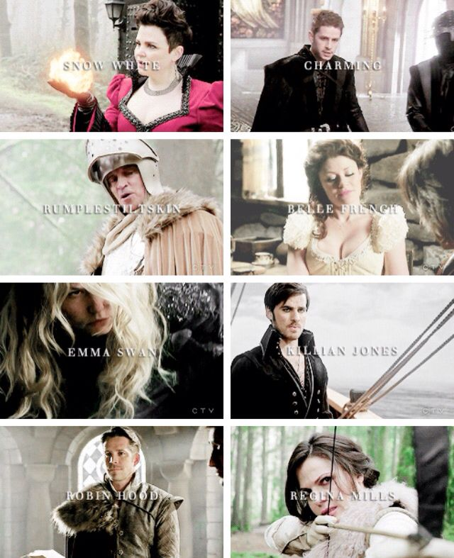 Opposites --  Snow White: evil, Charming: a slave, Rumplestiltskin: a hero, Belle: helpless without a man, Emma Swan: weak, Killian Jones: cowardly, Robin Hood: marrying Zelena, Regina: hated by the Queen