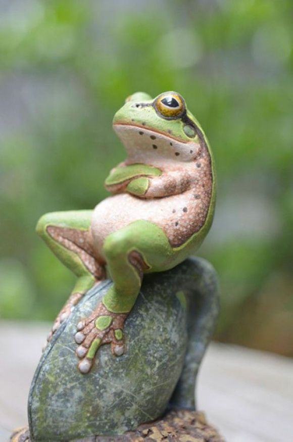 """There's always someone who thinks he's the boss. This frog looks to be saying, """"I'm in charge now."""""""