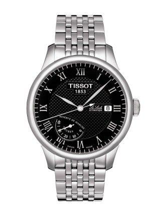 Montre TISSOT Homme Le Locle, cadran noir, modèle automatique calibre ETA 2897, verre saphir et bracelet en acier.
