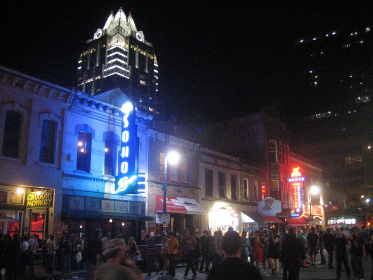 6th Street in Austin,Texas. Lots of bars, clubs and restaurants. Great night life.