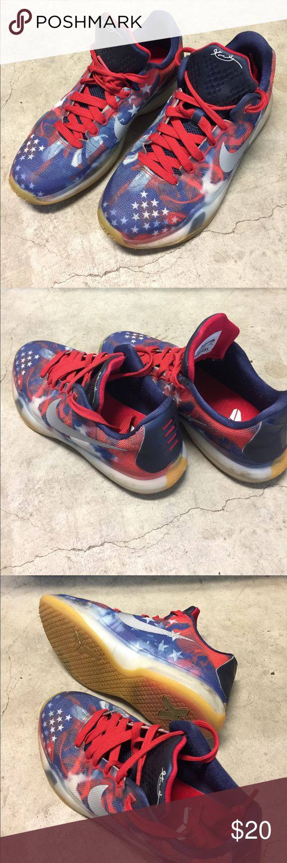 Nike Kobe Bryant shoes, 4th of July USED. Nike Kobe Bryant basketball shoes. 4th of July edition. Nike Shoes Sneakers