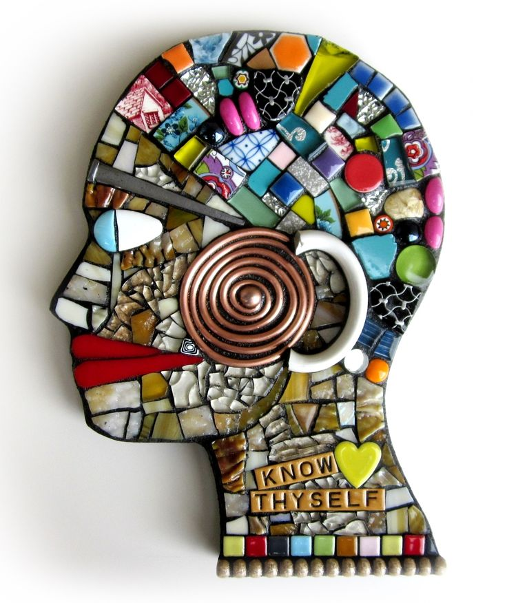 stained glass and mixed media mosaic head