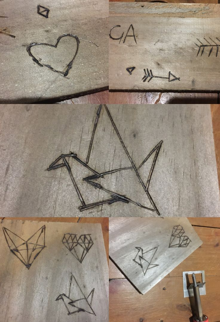 Experimentation with Pine wood using wood burning technique to create drawings.