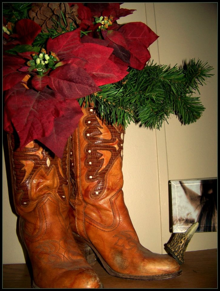 My boot collection also comes in handy for decorating : )