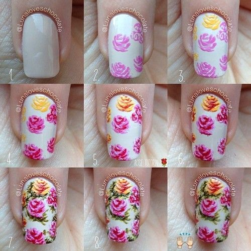 Rose Nails ~ tutorial by lunaloveschocolate