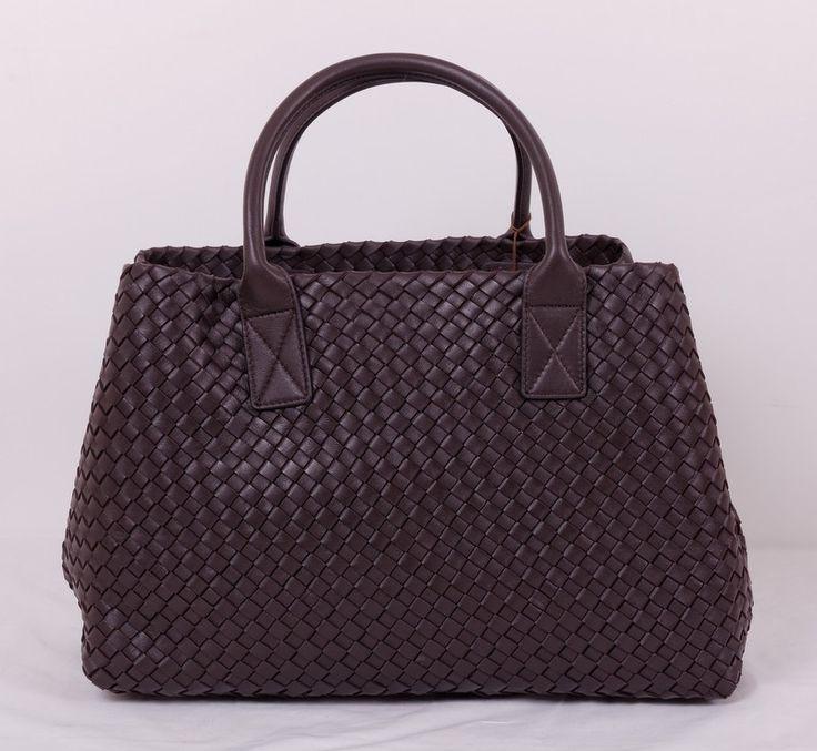 Кожаная сумка Bottega Veneta (боттега венета) cabat, коричневая