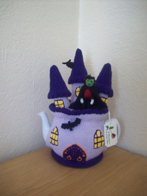 Knitted Tea cosy cosie Dracula's Castle, Halloween Shabby Chic
