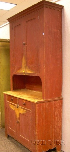 Red Painted Two Part Step Back Cupboard, Purporte