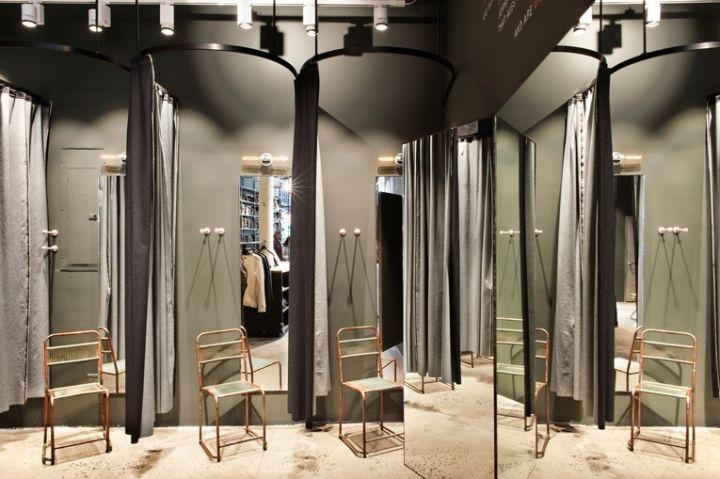 Экологический дизайн магазина и ремонта одежды Nudie Jeans в Нью-Йорке