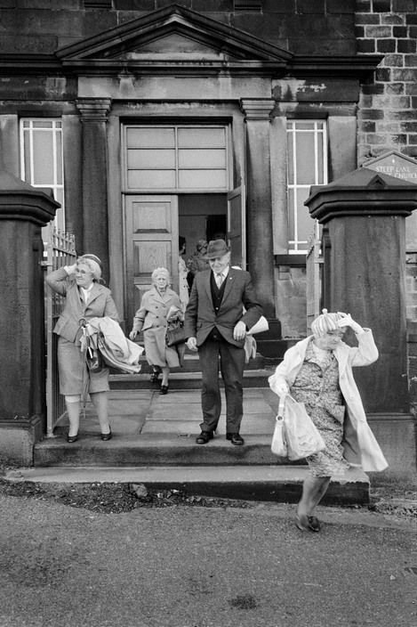 Martin Parr - England. West Yorkshire. Calderdale. Sowerby. Outside Steep Lane Baptist Chapel. 1976.