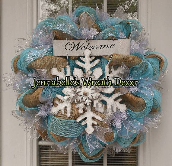 22 Winter Mesh Wreath Winter Burlap Wreath by JennaBelles on Etsy, $65.00