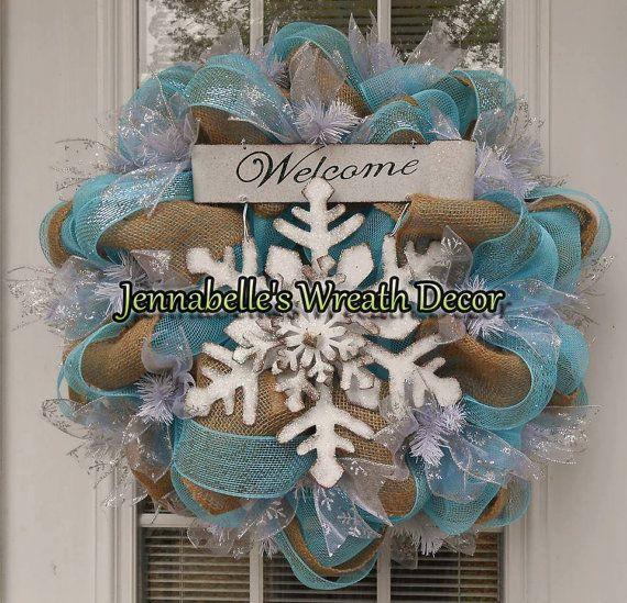 22 Winter Mesh Wreath Winter Burlap Wreath by JennaBelles on Etsy, $65.00