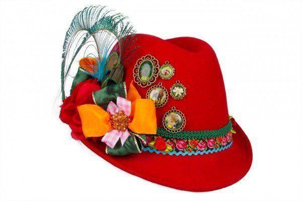 Der auffälligste Kopfschmuck überhaupt – Trachtenhut für Damen in Rot-Grün! – Zumikokinoko