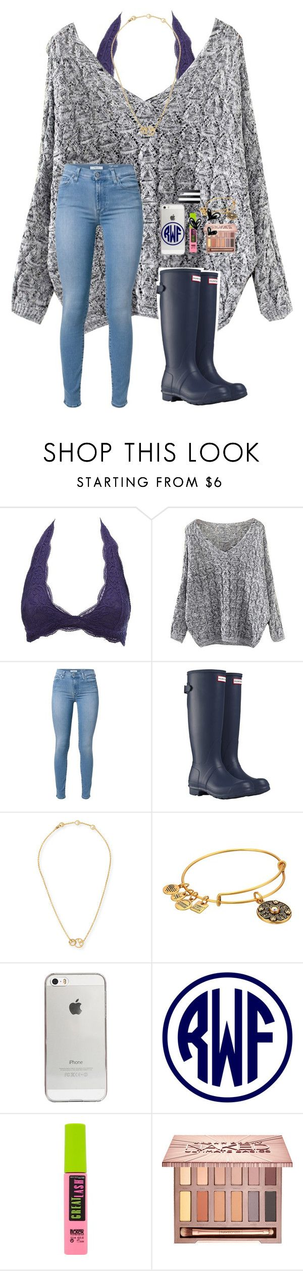 """""""4 day weekend!!!!!!"""" by a-devo ❤ liked on Polyvore featuring Charlotte Russe, 7 For All Mankind, Hunter, Tory Burch, Alex and Ani, Agent 18, Maybelline, Urban Decay and Sephora Collection"""