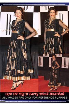 Deepika Padukone Black Replica Anarkali Salwar Suit