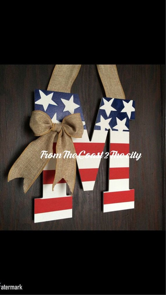 NEW design for 2015 and Fresh from my shop! Now you can flaunt both the American Flag AND your Monogram all at once!!! Cant get much better than that! Designed on hardwood, hand cut and hand painted to bring this exquisite piece to your front door! Perfect for military families and a fabulous piece that you may leave up all year long! ***pictured above is a 20 monogram (including 7 bow drop) *** Each piece is sealed before shipped to help protect against the elements. *****Upon checkout ...