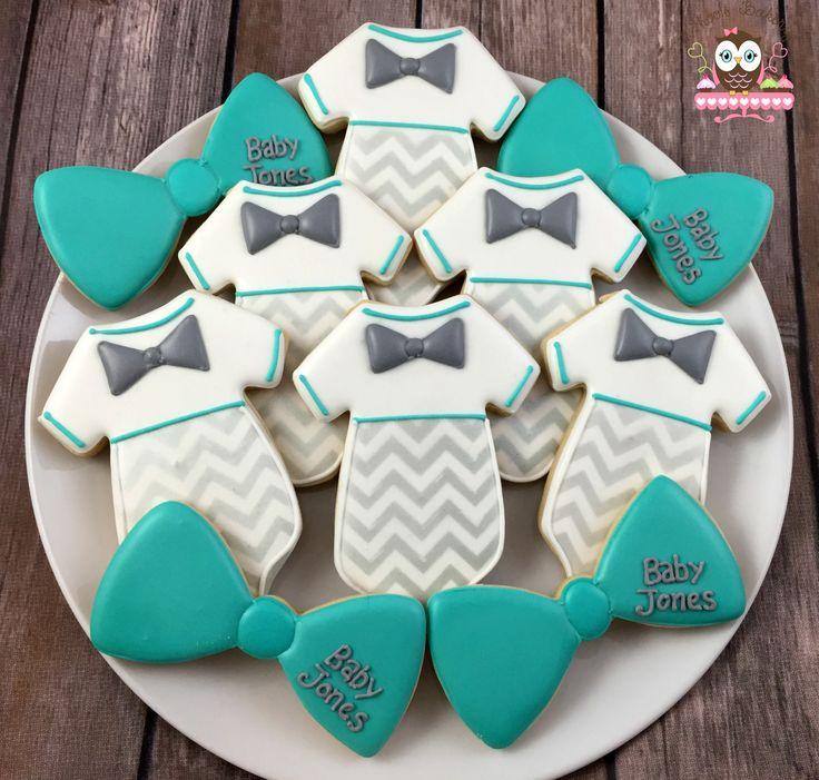 Little man cookies, baby shower cookies, bow tie cookies, onesie cookies, little man onesie cookies, chevron cookies