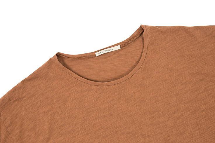 Nudie Jeans Raw Hem T-Shirt Slub - Cinnamon