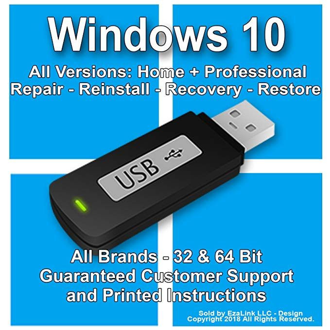Amazon Com Windows 10 Reinstall Recovery Repair Restore Boot Fix Usb Professional Home 32 64 Bit All Brands Hp Dell Etc Inst Usb Windows 10