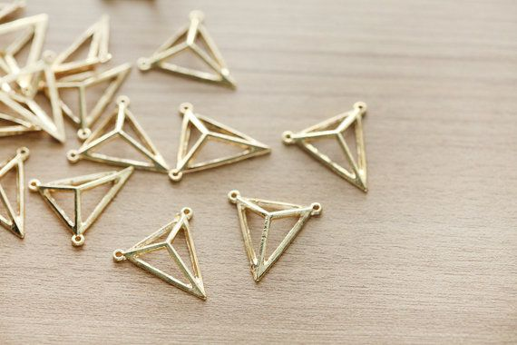 10 pcs of Gold Plated Triangle Alloy Pendants - 25 mm