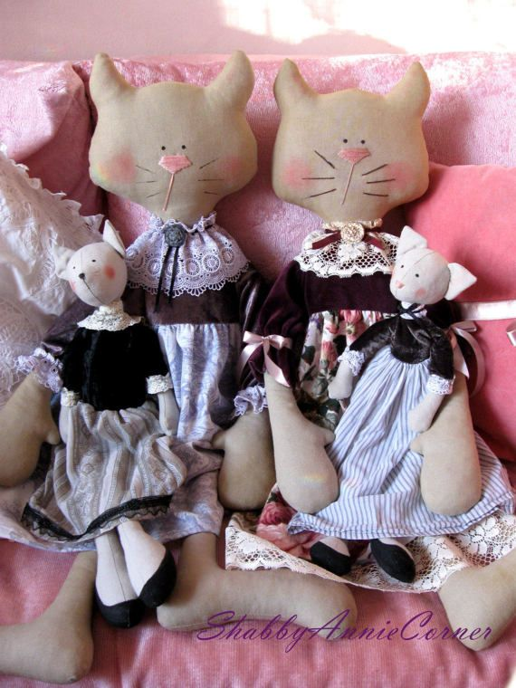 Cat Stuffed toy Shabby chic Cat doll Girls toys Regency style