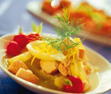 Fiskgryta med smak av olivolja och citron