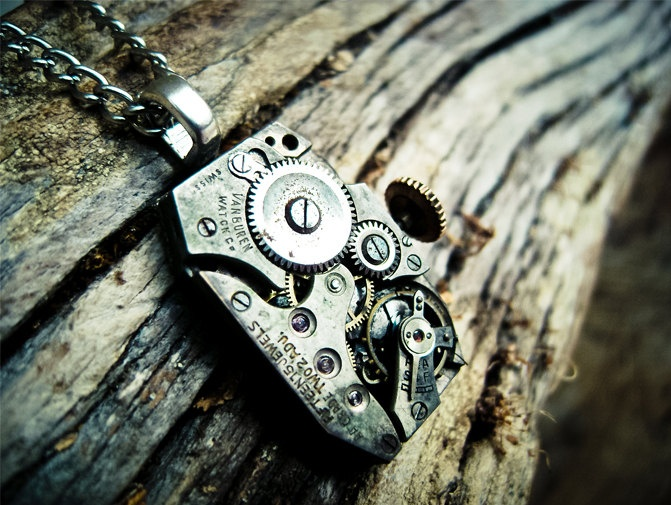 Steampunk Necklace - Antique Van Buren Watch Movement - Spring Sale. $30.00, via Etsy.