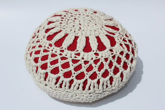 THE RED LENTIL - Retextil pouffe - Handmade Fabric Crochet Pouf - Hand Crocheted Textile Home Decor - Nursery Decoration - White&Red Ottoman  #handmade #home #decor #fabric #textile #fiber #handcrafted #recycled #recycle #weave #woven #crochet #crocheted #knitted #pillow #pouffe #ottoman #footstool #ecodesigne #cushion #nursery #interior #outdoor