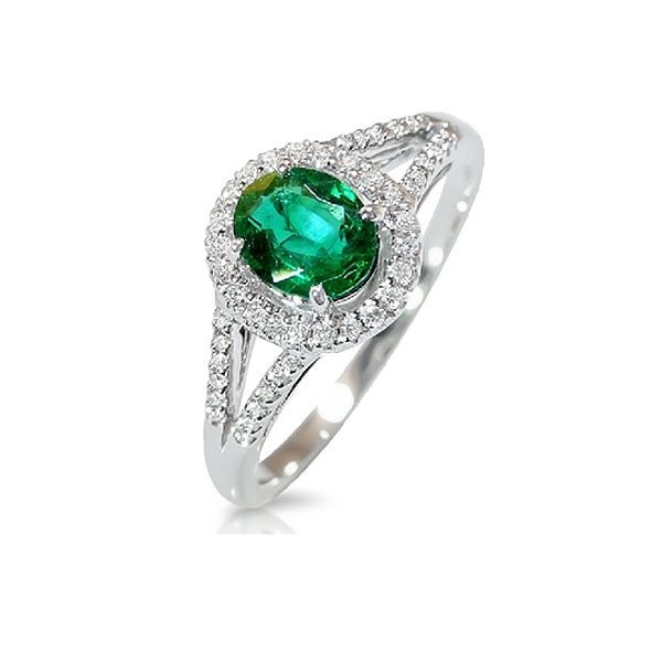 Emerald and Diamond Split Shank Engagement Ring  BGRT1757EJF