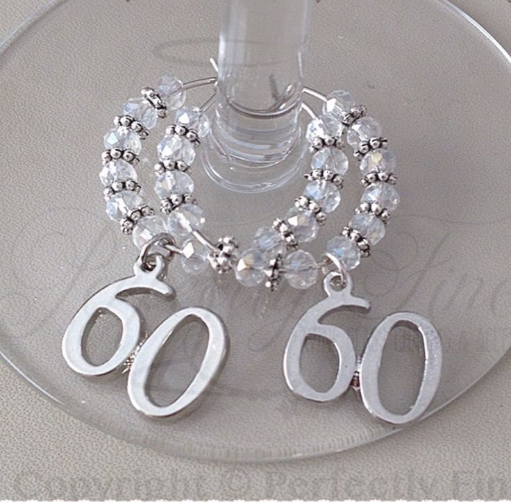 60th Diamond Wedding Anniversary Wine Glass Charms. 60th Wedding Anniversary. Diamond Wedding. 60 years. - pinned by pin4etsy.com
