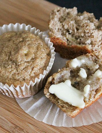 Get this healthy Banana Applesauce Muffin recipe for a delicious snack on the go! |fromaway.com