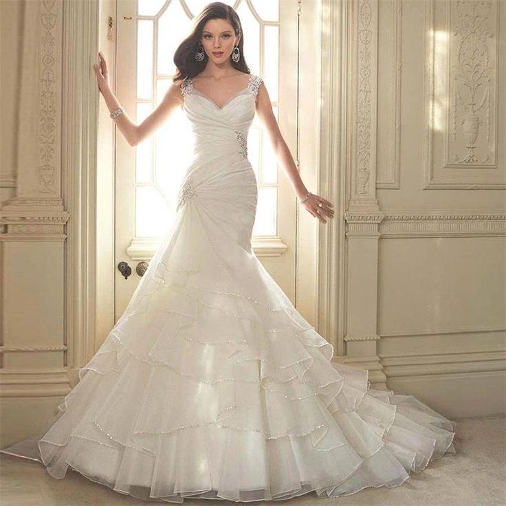Robes Longue de Mariée Mariage Taille Grande Sirène Dentelle Tulle Dos Nu Traîne