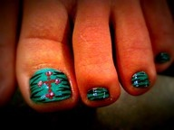 Rhinestone Cross & Zebra pedicure